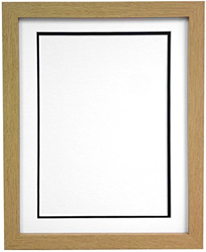 FRAMES BY POST H7 Picture Photo Frame, Wood with Plastic Glass, Oak with White and Black Double Mount, 20 x 16 Image Size 15 x 10 Inch from FRAMES BY POST