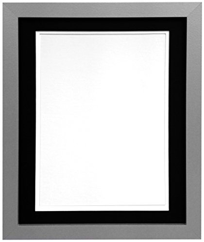 FRAMES BY POST H7 Silver Picture Photo Frame With White/Black Double Mount, 36 x 24-Inch for Picture Size 30 x 20-Inch from FRAMES BY POST