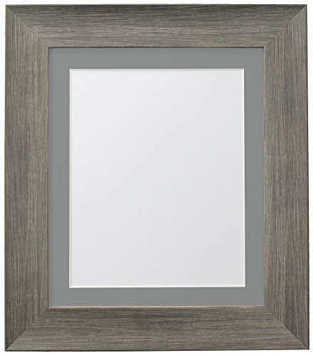 FRAMES BY POST Hygge Picture, Photo and Poster Frame, Plastic Glass, Wolf Grey with Dark Grey Mount, 20 x 16 Inches Image Size A3 from FRAMES BY POST