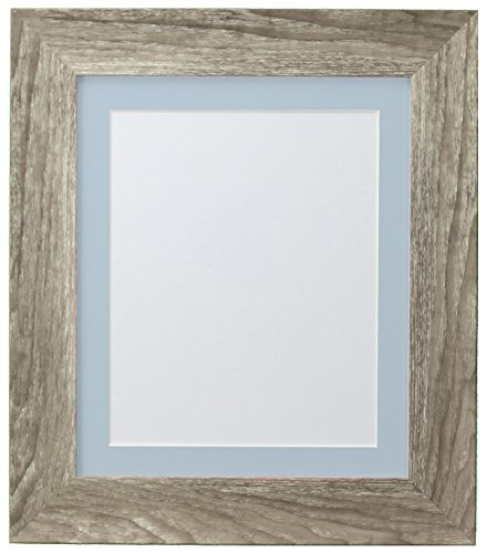 FRAMES BY POST Hygge Picture Photo Frame, Grey Ash with Blue Mount, 18 x 14 Image Size 14 x 11 Inches from FRAMES BY POST