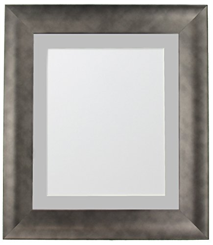 FRAMES BY POST Hygge Picture Photo Frame, Pewter with Light Grey Mount, 14 x 11 Image Size 12 x 8 Inches from FRAMES BY POST