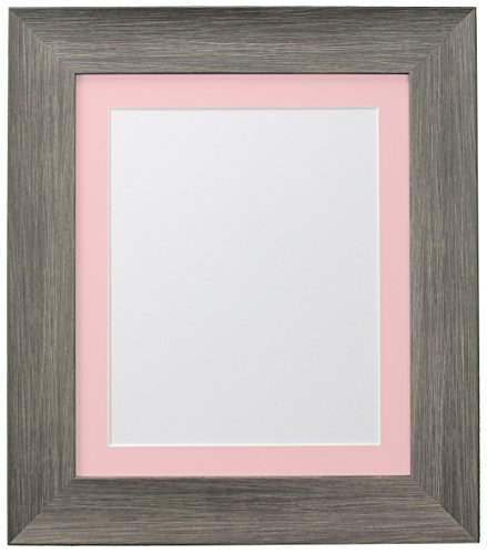 FRAMES BY POST Hygge Picture Photo Frame, Plastic Glass, Wolf Grey with Pink Mount, 50 x 70 cm Image Size 24 x 16 Inches from FRAMES BY POST