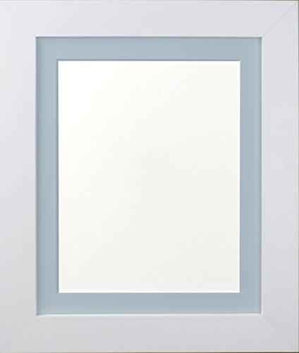 FRAMES BY POST London Picture Photo Frame, Plastic Glass, White with Blue Mount, 20 x 16 Image Size 15 x 10 Inches from FRAMES BY POST