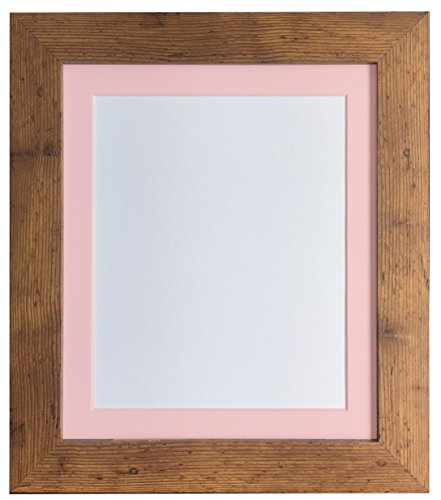 FRAMES BY POST London Picture Photo Frame, Vintage Wood with Pink Mount, 6 x 4 Image Size 4 x 3 Inches from FRAMES BY POST