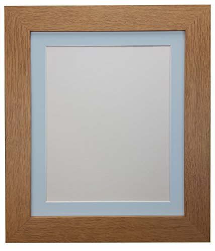 FRAMES BY POST London Picture Photo Frame, Wood, Oak with Blue Mount, A3 Image Size A4 from FRAMES BY POST
