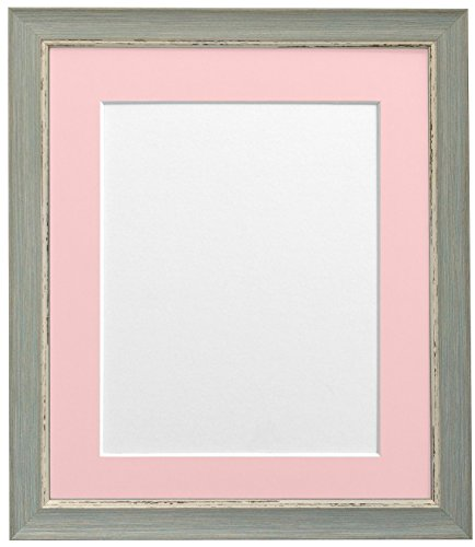 FRAMES BY POST Nordic Distressed Picture Photo Frame, Recycled Plastic, Blue with Pink Mount, 14 x 8 Image Size 10 x 4 Inch from FRAMES BY POST