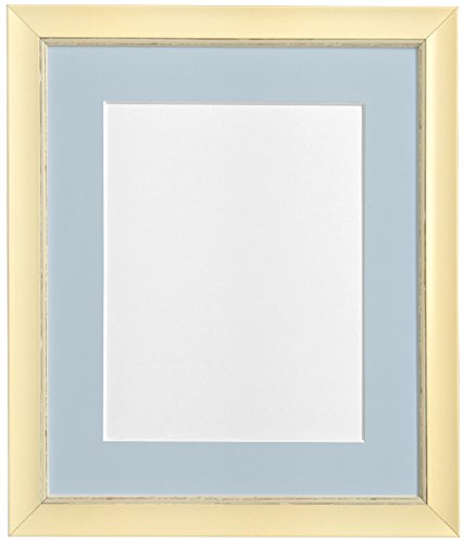 "FRAMES BY POST Nordic Distressed Cream Photo Frame with Blue Grey Mount 7""x5"" Pic Size 5""x3.5"" from FRAMES BY POST"