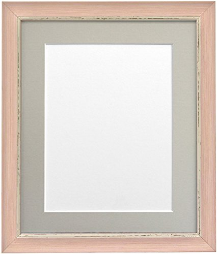 "FRAMES BY POST Nordic Distressed Pink Photo Frame with Light Grey Mount 10""x10"" Pic Size 8""x8"" from FRAMES BY POST"
