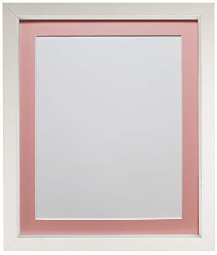 FRAMES BY POST Rio Picture Photo Frame, MDF Wood, White with Pink Mount, 10 x 8 Inch Image Size 7 x 5 Inch Plastic Glass from FRAMES BY POST