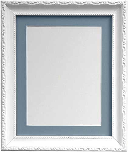 FRAMES BY POST Shabby Chic White Picture Photo Frame with Light Blue Grey Mount 14 x 11 for For Image size 10 x 8 from FRAMES BY POST