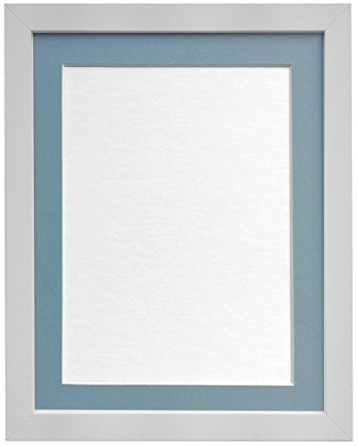 "FRAMES BY POST 25mm wide H7 White Picture Photo Frame with Light Blue Grey Mount 16""X12"" for Pic Size 12""x10"" from FRAMES BY POST"