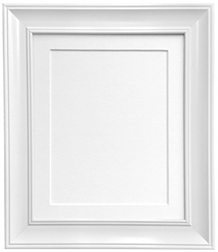FRAMES BY POST Scandi Vintage White Picture Photo Frame with White Mount 40 x 50 cm For Image size 16 x 12 from FRAMES BY POST