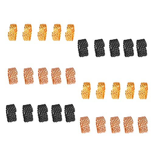 FRCOLOR 30 Pieces Hair Clip Dreadlocks Hair Braid Rings Dreadlocks Adjustable Metal Hair Cuffs for Hair Accessories (Gold and Black) from FRCOLOR