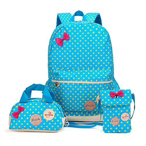 MCUILEE Polka Dot 3pcs Kids Book Bag Girls Backpack Cute School Backpack with Handbag Purse,Blue from MCUILEE