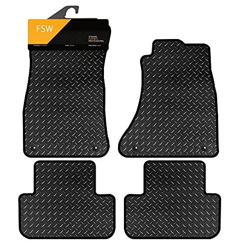 FSW A4 2008-2015 With Clips Fully Tailored 3MM Rubber Heavy Duty Car Floor Mats from FSW