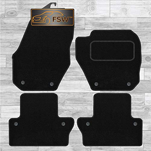 FSW S60 With Clips 2010-On Tailored Carpet Car Floor Mats Black from FSW