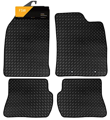 FSW Fiesta 02-08 Mk6 With Holes Tailored 3MM Waterproof Rubber Heavy Duty Car Floor Mats from FSW