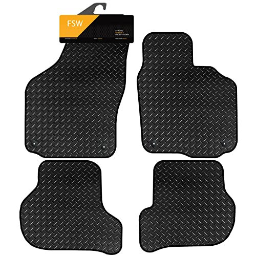 FSW Octavia 2008-2013 Tailored 3MM Waterproof Rubber Heavy Duty Car Floor Mats 4 Clips from FSW