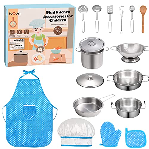 FUQUN 17 Pcs Pretend Play Kitchen Cookware Set Cooking Toy Cookware Playset Stainless Steel Pots & Pans Bundle For Kids - Childrens Role Play Set with Dress up Costume Waterproof Aprons from FUQUN