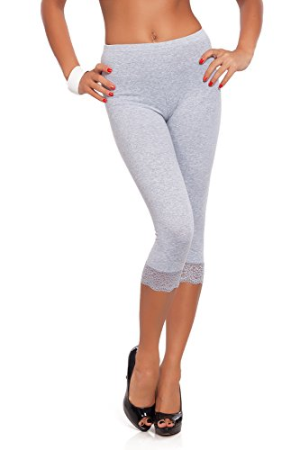 FUTURO FASHION® Cropped 3/4 Lenght Cotton Leggings with Lace All Colours & All Sizes Ashen 12 UK (L) from FUTURO FASHION