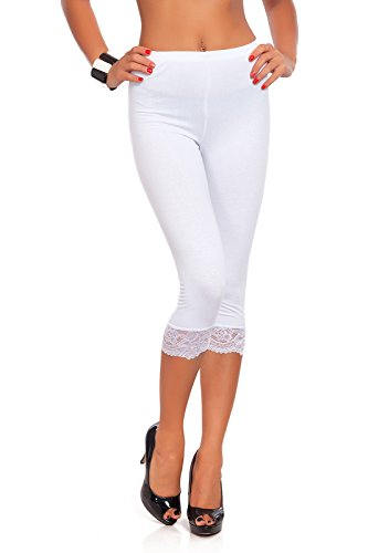 FUTURO FASHION® Cropped 3/4 Lenght Cotton Leggings with Lace All Colours & All Sizes White 14 UK (XL) from FUTURO FASHION