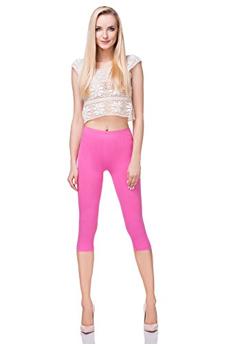 FUTURO FASHION Cropped Cotton Classic 3/4 Leggings Comfortable Yoga Fitness Gym Baby Pink from FUTURO FASHION