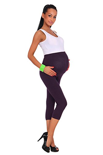 FUTURO FASHION Maternity Leggings Cropped 3/4 Length Cotton Leggings Very Comfortable All Sizes Plum 20/22 UK (XXXL) from FUTURO FASHION