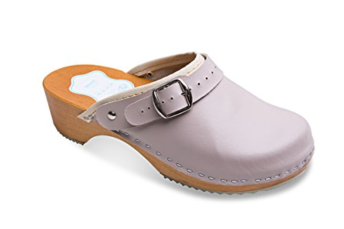 FUTURO FASHION Women's Healthy Natural Genuine Leather Wooden Sole Plain Clogs Unisex Colours Sizes 3-8 UK from FUTURO FASHION