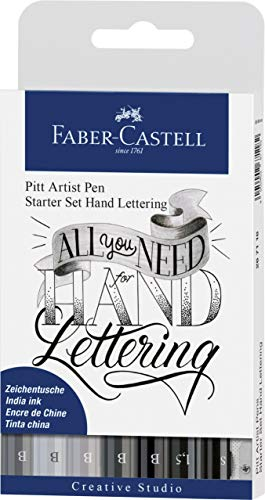 Faber-Castell 267118 - Pencil Pen Pitt Artist Pen Lettering Starter Set, 9 Pieces (5 Pitt Artist Pens with Brush Tip, 2 Pitt Artist Pen Fineliner, 1 Castell 9000 Pencil B, 1 Sharpener) from Faber-Castell