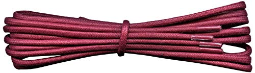 2 mm Round Burgundy Waxed Cotton Shoelaces - 90 cm length -Thin laces for dress shoes and boots. from Fabmania
