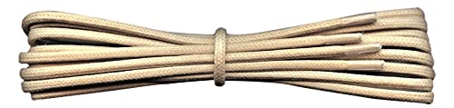 2 mm Round Cream Waxed Cotton Shoelaces - 90 cm length -Thin laces for dress shoes and boots. from Fabmania