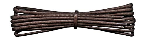 2 mm Round Dark Brown Waxed Cotton Shoelaces - 120 cm length -Thin laces for dress shoes and boots. from Fabmania