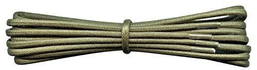 2 mm Round Khaki Waxed Cotton Shoelaces - 90 cm length -Thin laces for dress shoes and boots. from Fabmania