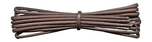 2 mm Round Medium Brown Waxed Cotton Shoelaces - 90 cm length -Thin laces for dress shoes and boots. from Fabmania
