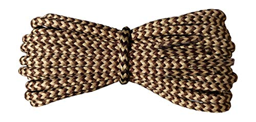 Boot Laces - 4 mm round - Brown and Oatmeal laces - Length 160cm - Made in England from Fabmania