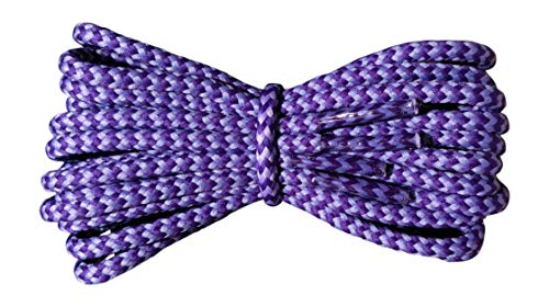 Boot Laces - 4 mm round - Purple and Lilac laces - Length 140cm - Made in England from Fabmania