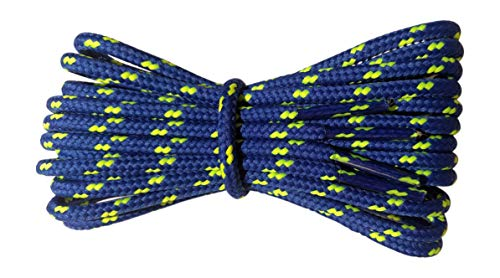 Boot Laces - 4 mm round - Royal Blue with Lime fleck laces - Length 180cm - Made in England from Fabmania