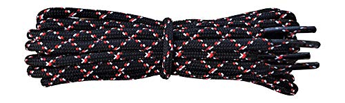Shoelaces for Walking, Hiking, Trekking Shoe Boot - replacement laces in black with red and white flecks 140 cm from Fabmania