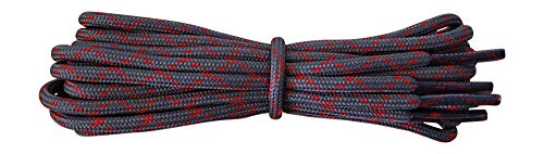 Shoelaces for Walking, Hiking, Trekking Shoe Boot - replacement laces in dark grey with red flecks 120 cm from Fabmania
