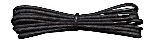 Small Round Waxed Thin Cotton Shoelaces - Black - Length 120 cm from Fabmania