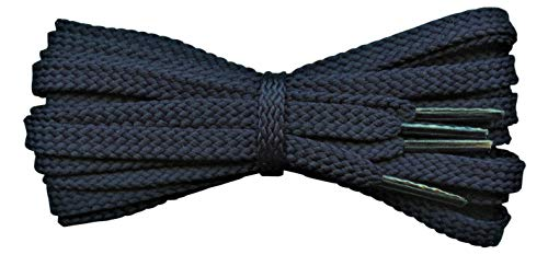Strong Flat 6 mm Shoelaces for sport shoes, football laces - Dark Navy 110 cm from Fabmania