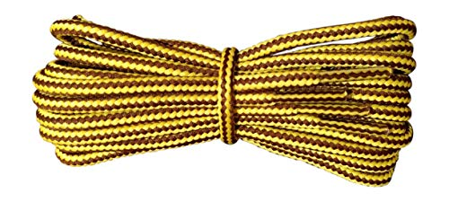 Strong Round Work Boot Laces Yellow and Brown Stripes 180cm 4mm replacement for Caterpillar, DeWalt, Timberland, Scruffs from Fabmania