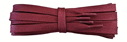 Waxed Cotton Laces - 9mm Flat - burgundy - Length 110cm from Fabmania