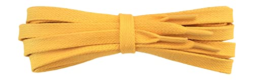 Waxed Cotton Laces - 9mm Flat - yellow - Length 140cm from Fabmania