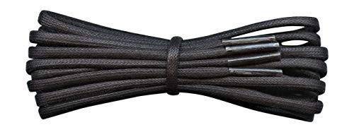 Waxed Cotton Shoelaces - 3 mm round - Black - Length 180 cm - Made in England from Fabmania