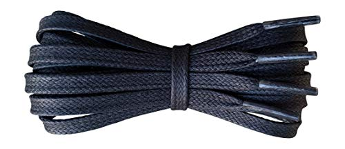 Waxed Cotton Shoelaces - 6 mm flat - Ideal for sports and casual shoes - Black - length 125 cm - Made in England from Fabmania