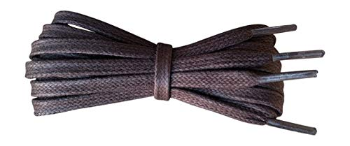 Waxed Cotton Shoelaces - 6 mm flat - Ideal for sports and casual shoes - Dark Brown - length 90 cm - Made in England from Fabmania