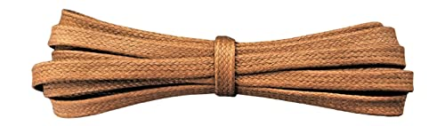 Waxed Cotton Shoelaces – 6 mm flat – Ideal for sports and casual shoes - Light Brown/Tan - length 90 cm - Made in England from Fabmania