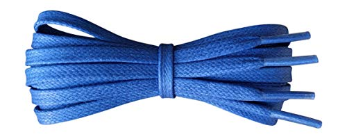 Waxed Cotton Shoelaces – 6 mm flat – Ideal for sports and casual shoes - Royal Blue - length 60 cm - Made in England from Fabmania