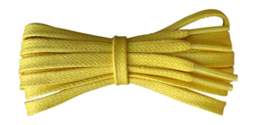 Waxed Cotton Shoelaces – 6 mm flat – Ideal for sports and casual shoes - Yellow - length 110 cm - Made in England from Fabmania